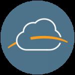 Blu Prairie logo orange arch through white cloud in blue circle