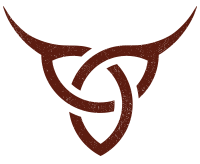 Mission Meats logo with a trinity shaped into a steer head with horns