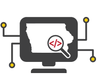 Dev Iowa Logo is a computer monitor showing the map of Iowa with a search glass over Iowa City