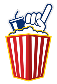 Fan Food logo/icon of popcorn container with popcorn, soda, and #1 finger spilling out the top