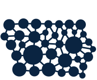 Iowa Cancer Consortium logo is different size dots making the shape of Iowa connected by lines