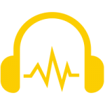 Headphone with sound wave between them icon
