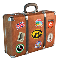 Vintage suitcase with travel stickers including the UIowa tigerhawk