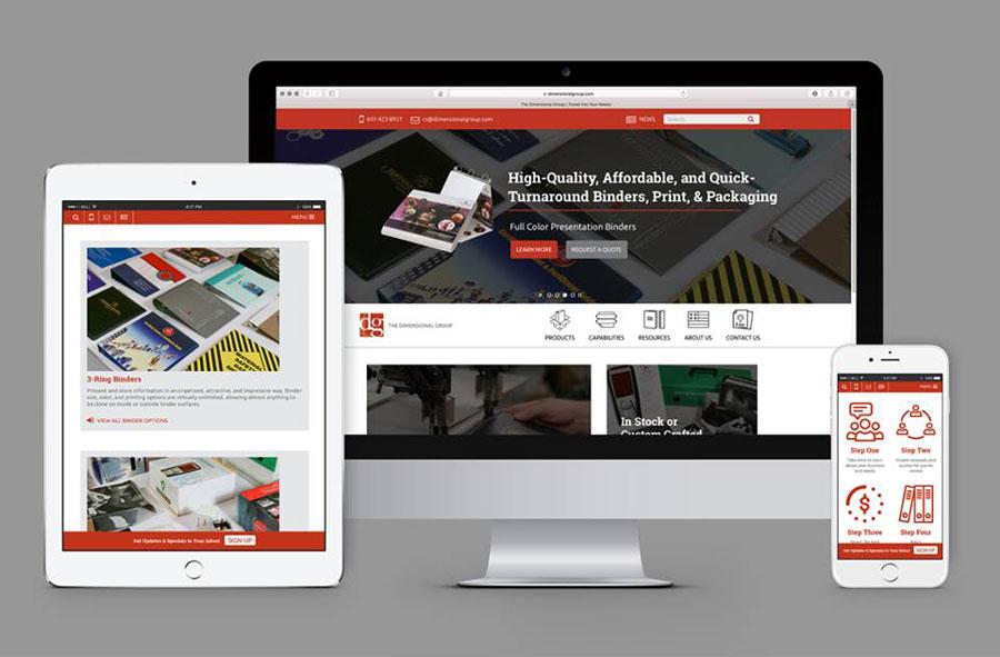 images of web design on desktop, tablet, and mobile phone