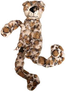 distressed leopard dog toy